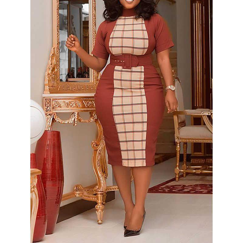 Винтажные элегантные вечерние деловой пикантный женский клубный женский карандаш платья плюс размер ретро облегающее клетчатое летнее 2019 женское модное платье