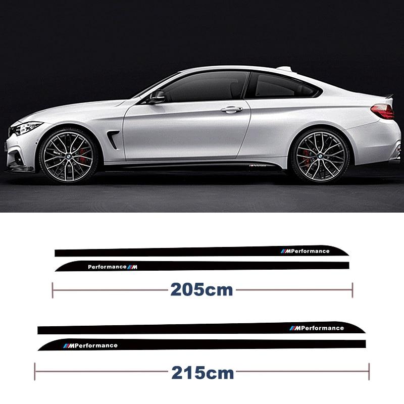 For BMW 3 Series F30 320i 316i 328i For BMW 5 series E60 E61 For BMW 4 Series F32 F33 X5 M performance Side Skirt Stripe Sticker contrast stripe asymmetric hem skirt