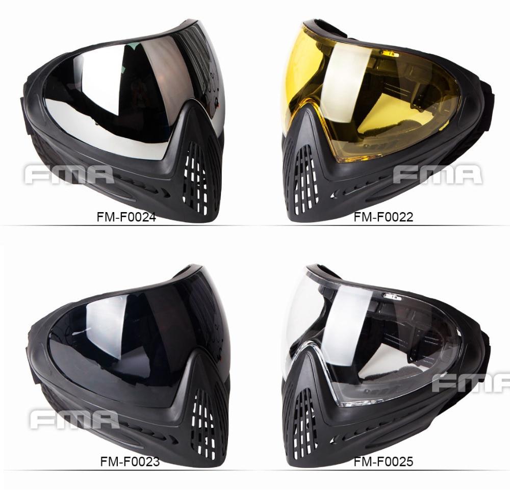 FMA 2019 mask f1 helmet Paintball Safety Anti fog Goggle Full Face Mask Black Mask FM