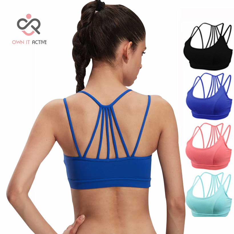 Yoga tops vest Women movimiento Athletic Sports Bras Seamless Cross Back Padded Raceback Gym Running Fitness Tank Tops P043