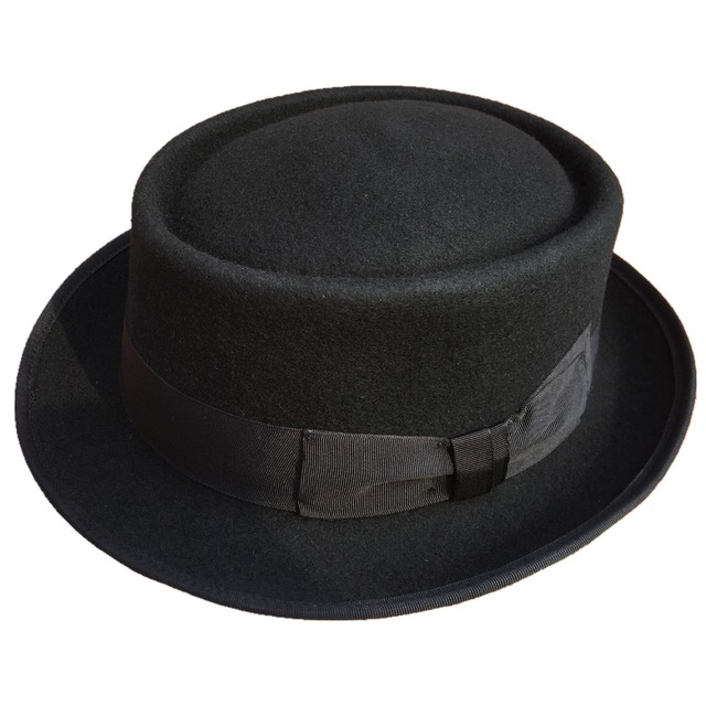 b303daeb173f4 Classic Wool Felt Stingy Brim Pork Pie Hat Fashion Wool Felt Porkpie Jazz  Fedora Hat Black Brown Round Top Trilby Hats