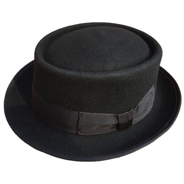 4cec670adad Classic Wool Felt Stingy Brim Pork Pie Hat Fashion Wool Felt Porkpie Jazz  Fedora Hat Black Brown Round Top Trilby Hats
