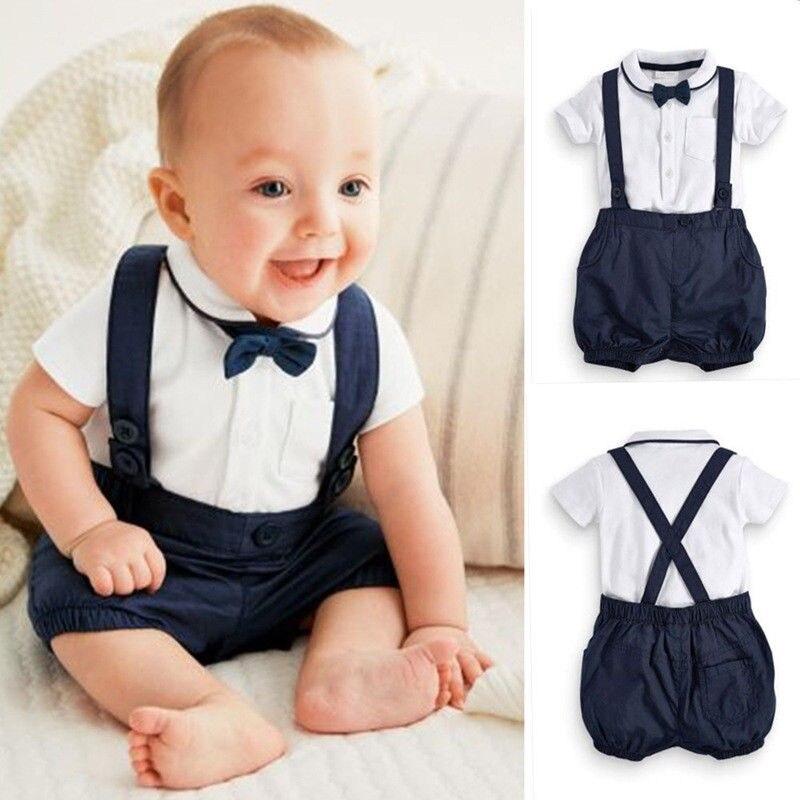Baby Boy Gentleman Oficjalna Strona Tuxedo Garnitur na chrzest - Odzież dla niemowląt - Zdjęcie 1