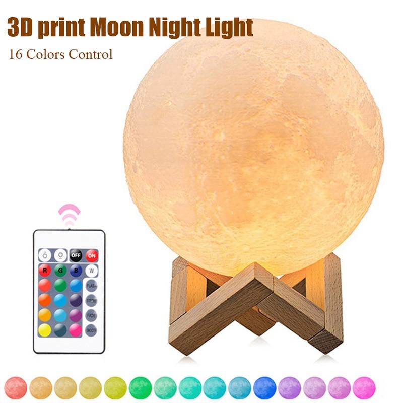 3D Moon Lamp 16 Color Change 3D