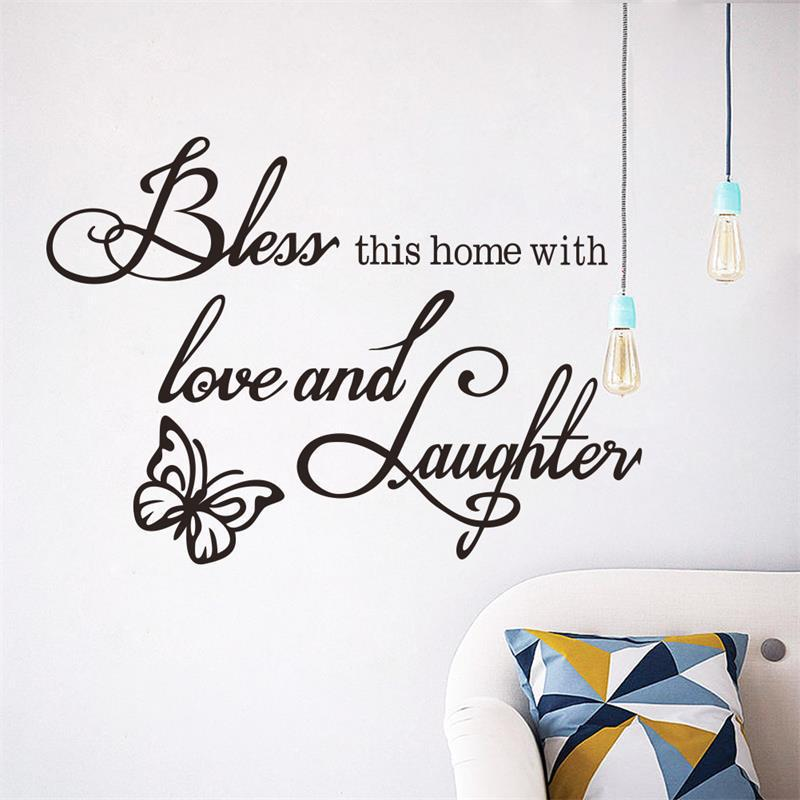 8386* new Love laughs butterfly quote wall sticker 8386 Hoom decor art mural on removable vinyl direct delivery ...