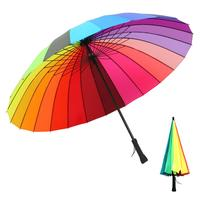 Rainbow Umbrella Double Hand Open Steel Bone Rainbow Umbrella Straight Handle Household Merchandises For Women