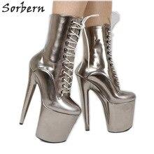 57cf59d3fb9c19 Sorbern gris métallique femmes Pole Dance 20 cm 8 inch talons extrêmes  chaussures déviantes exotique danseuse