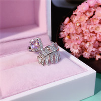 Japanese Style Sterling Silver Feather Rings AAA Zircon Luxurious Europe And The United States Fashion Personality