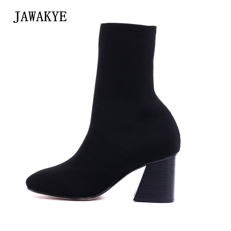 Newest Stretch Wool Sock Boots Woman Round Toe Mixed Color Chunky High Heel Boots Women Sexy Knit Ankle Boots