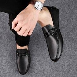 2019 marca sapatos masculinos de couro genuíno respirável confortável mocassins primavera outono apartamentos masculinos de luxo sapatos casuais p4