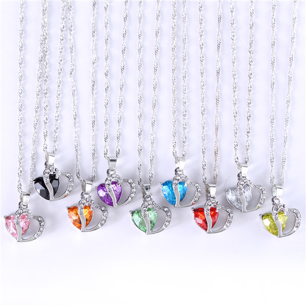 Double Heart Luxury Rhinestone Crystal Pendant Necklace Valentine s Day Gift for Girl