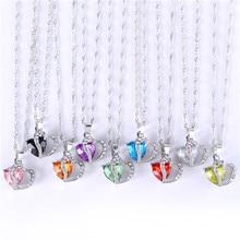 Двойное Сердце Роскошный Горный Хрусталь Кристалл Кулон Ожерелье День святого валентина Подарок для Девушки