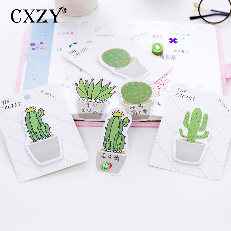 CXZY <font><b>cute</b></font> Cactus <font><b>sticky</b></font> note kawaii index <font><b>tabs</b></font> memo pad planner sticker scrapbooking items office list masking stationery 3B825 image