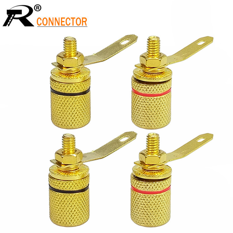 100pcs pcs Gold Plated Amplifier Speaker Terminal Binding Post Banana Plug Jack Audio Connector Wholesales