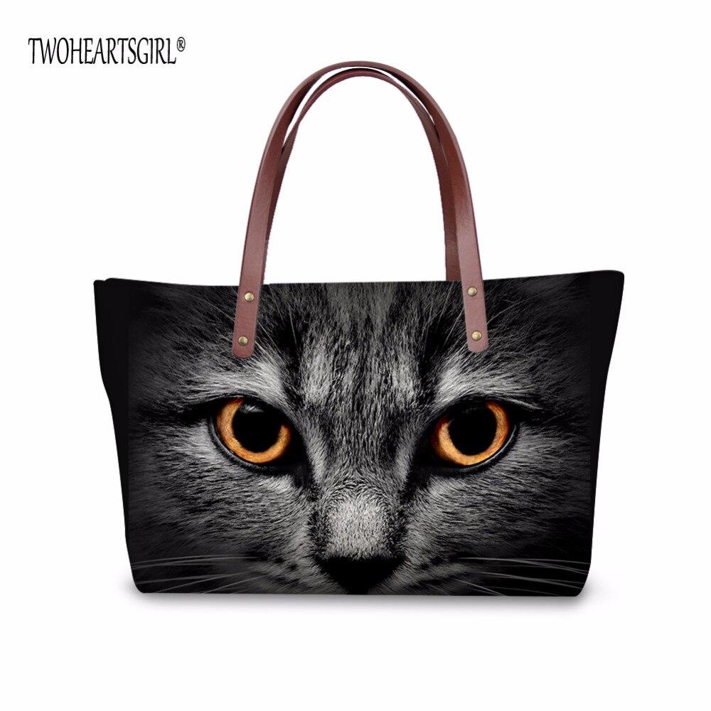 TWOHEARTSGIRL Neoprene Handbag Cute Cat Print Tote Bag for Women Top-handle Bag High Neoprene Tote Shoulder Bag Female Beach Bag skull cat print crescent hem top