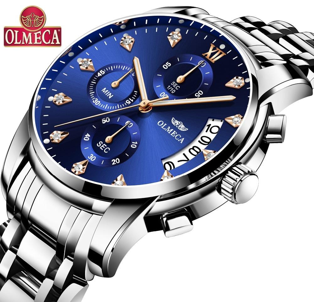 OLMECA бренд 3ATM водостойкие часы военные часы хронограф часы Relogio Masculino наручные часы модные часы для мужчин
