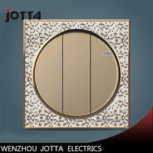 цена на Gold/Blcak/White 3 Gang 1Way Touch Switch Screen Crystal Glass Panel Switches EU Wall Light Switch For LED lamp