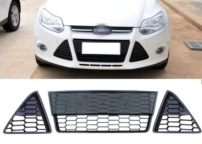 цена на 1 Set Mesh Honeycombed Front Lower Grille Grill kit Left +Right +Middle for Ford Focus 2012-2014