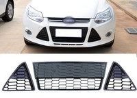 1 Set Mesh Honeycombed Front Lower Grille Grill kit Left +Right +Middle for Ford Focus 2012 2014