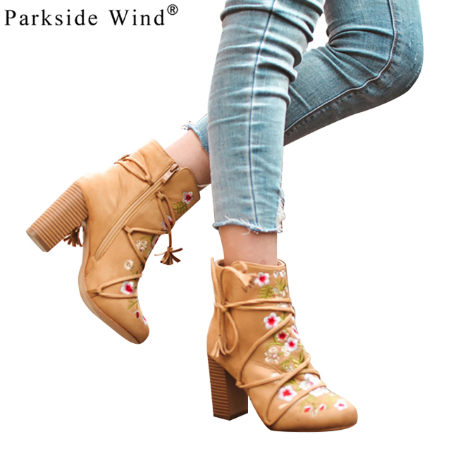 Parkside Wind Embroider Women's Shoes Designer Floral Female Boot Camel  Ankle High Heels for Girls Fringe