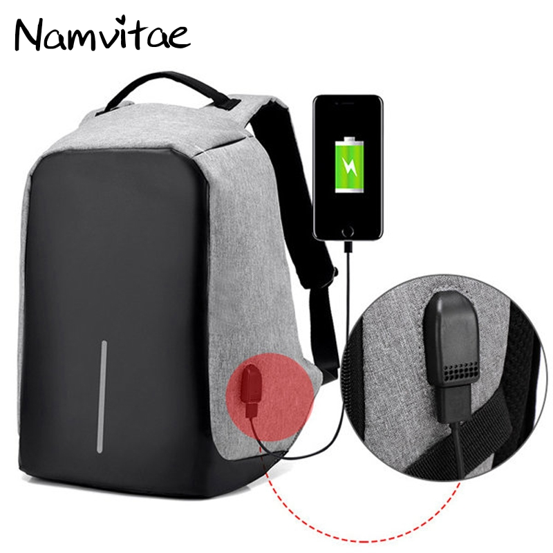 Fashion Anti theft USB Charging Port Backpack Multifunction 15inch Laptop Travel Bag Rucksack Waterproof Casual Bobby