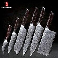 Набор кухонных ножей TURWHO из японской дамасской стали, 6 шт. кухонные ножи Nakiri Chef Santoku, ножи для чистки овощей и фруктов, инструмент для приготовления пищи