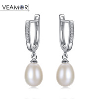 VEAMOR Luxury 8 9mm Natural Freshwater Pearl Clip Earrings For Women Inlay CZ 925 Sterling Silver