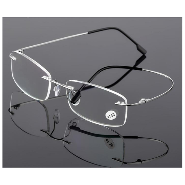 3355314d2f29 New Ultra light Flexible Memory Rimless Titanium Reading Glasses With  Leather Pouch +1.00