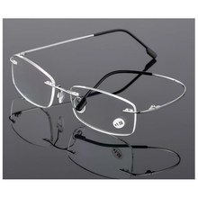 42faa38577 New Ultra light Flexible Memory Rimless Titanium Reading Glasses With  Leather Pouch +1.00