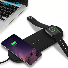 FDGAO Qi Wireless Charger 10W For iPhone XS Max XR X 8 for Apple watch 3 2 USB Fast Wireless Charging Pad Dock for Sumsung S9 S8