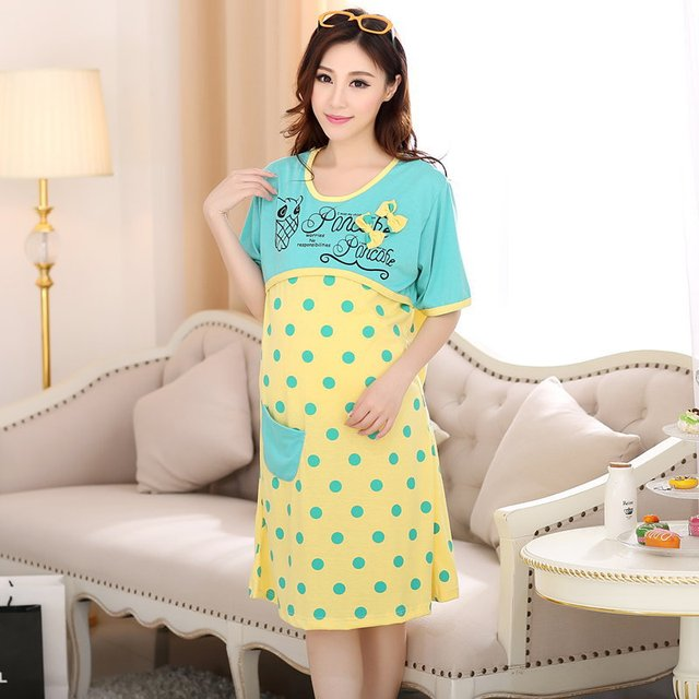 Maternity breastfeeding nursing nightgown for pregnant women breast ...