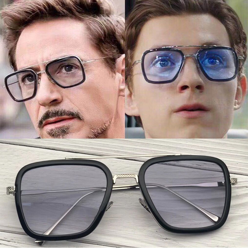 HJYBBSN Vintage Avengers 4 Tony Stark Square Sunglasses Men Spider Iron Man Sun Glasses Cool Men's Steampunk Eyeglasses UV400