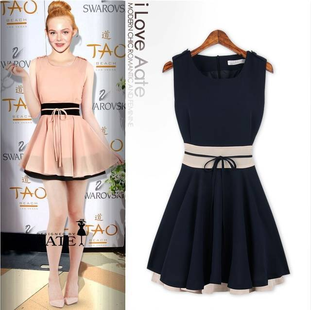 4019c656e8 2015 new European and American models of mixed colors flounced waist short  dress Apparel   Accessories Women s Clothing Dresses-in Dresses from Women s  ...
