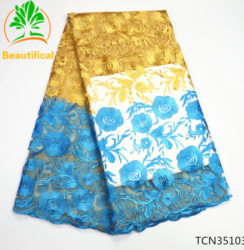 Flowers embroidery french lace fabric African lace fabric 2017 high quality Nigerian tulle lace fabrics for wedding dress TCN351