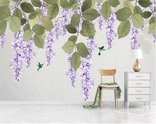 Купить с кэшбэком Beibehang Custom wallpaper Modern fresh Hand painted flower vine Birds and flowers sofa background wall painting 3d wallpaper