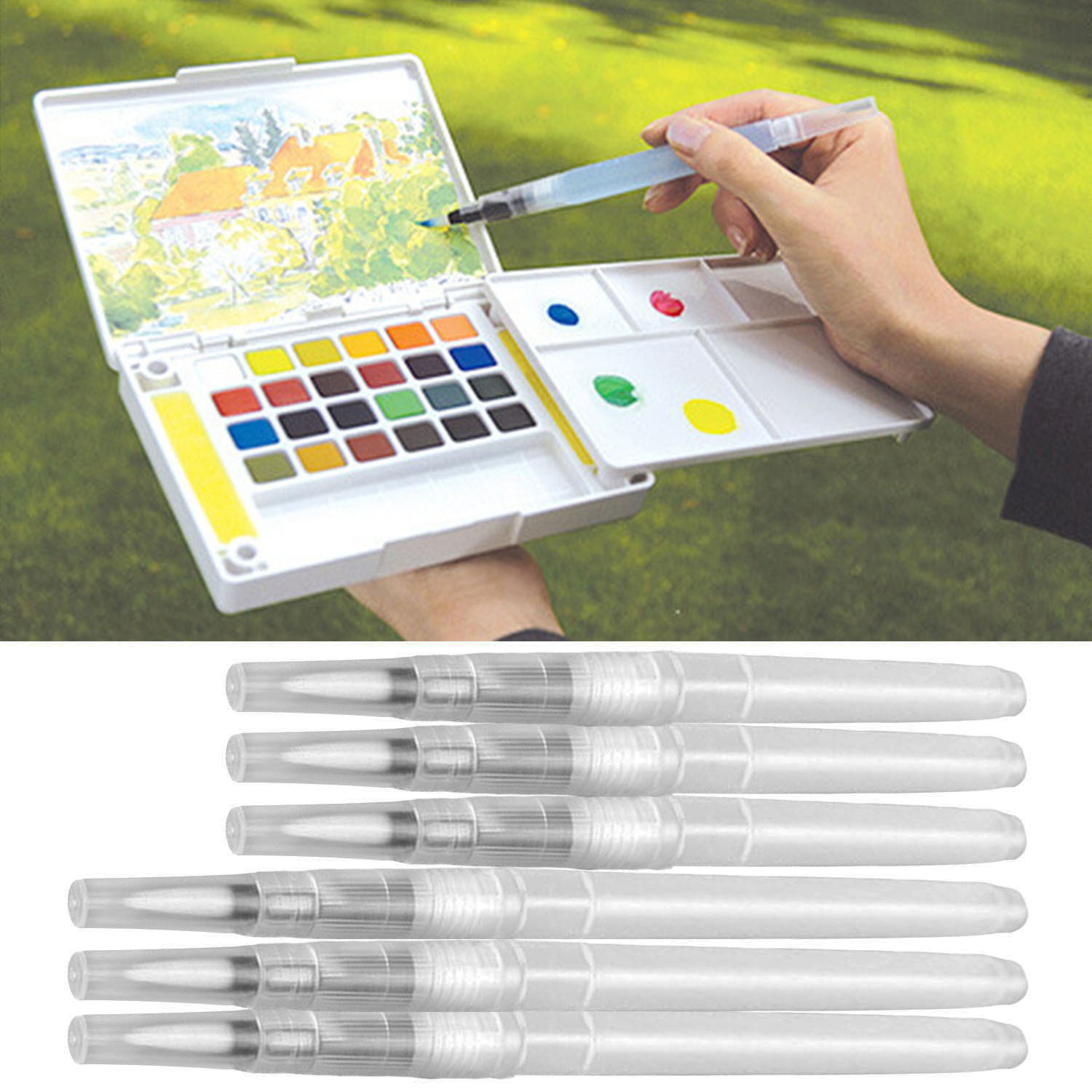 6 pcs portable water color brush pen paint watercolor for Watercolor supplies for beginners