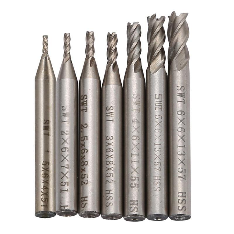 7Pcs/set Carbide End Mill HSS 4 Flutes 1.5mm-6mm Diameter Milling Cutter Straight Shank Router Bit Set CNC Tools  саморез креп комп белый цинк pozy 5х60 250шт бд560ф