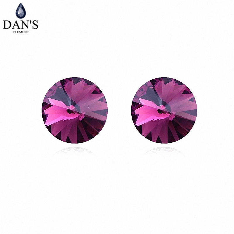 DANS 7 Colors Real Austrian crystals Stud earrings for women Earrings s New Sale Hot Round 96553Purple
