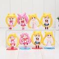 4pcs/lot Anime Sailor Moon PVC Toys Mini Crystal Usagi Chiba Mamoru Minako Aino Q Version Action Figure Models Collectible Gifts