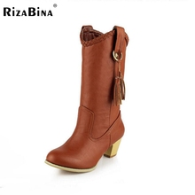 Women Square Heel Half Short Boots Ladies Winter Warm Martin Boots Fashion Tassel Pointed Toe Heels Boots Shoes Size 34-39