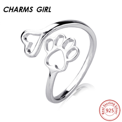 Charms girl 925 silver ring lovely double puppy dog paw claw open ring for women girls.jpg 250x250