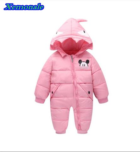 2017 Autumn winter Warm baby girl boy Snowsuit down cotton baby romper hoodies Newborn overalls clothes kids Children Outerwear 1 pc li ion battery replacement charger for bosch drill 18v 14 4v li ion battery bat609 bat609g bat618 bat618g p15