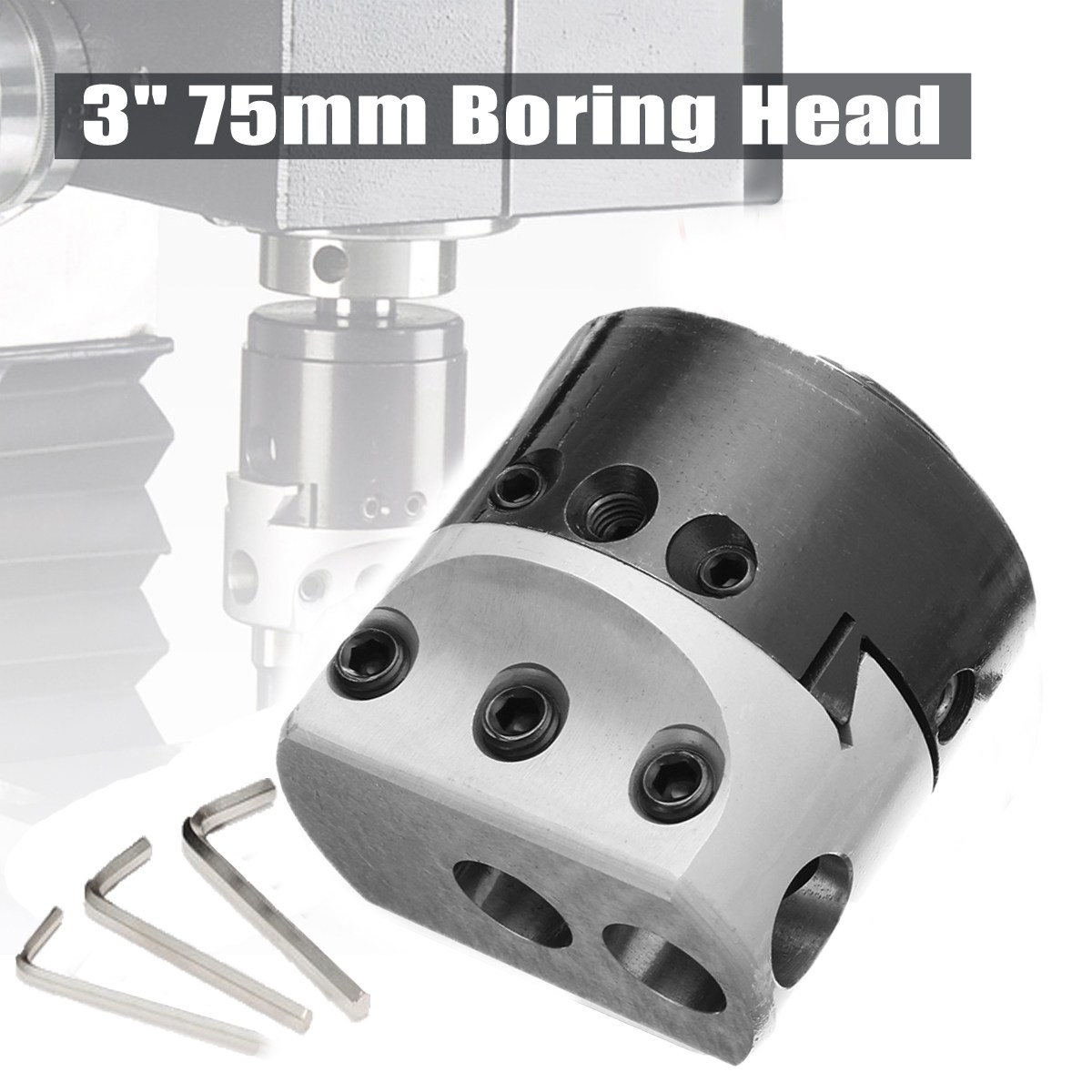 High Quality 3'' 75mm Boring Head Milling Tool with 3pcs Wrench For 18mm Hole Boring Cutter p80 panasonic super high cost complete air cutter torches torch head body straigh machine arc starting 12foot