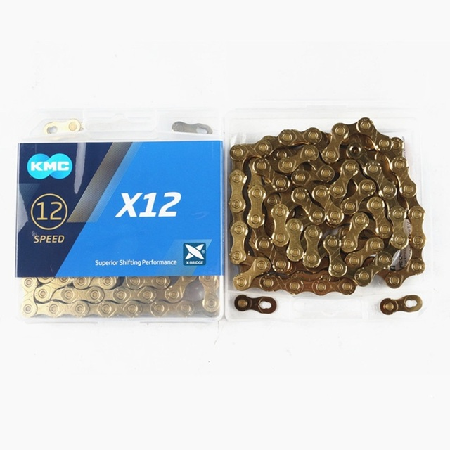 KMC X12 12 speed 126L MTB Mountain Bike Bicycle Chain 12s Gold Chain with Magic Button for Bicycle Parts With Original box