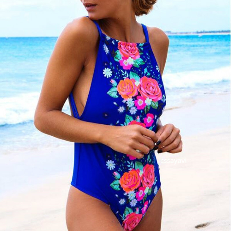 Blue Floral Print Piece Swimwear Women Backless One Piece Bikini Hight Neck Chinese Style Biquini Strapless Hot Monokini double ring letter link chain pendant necklace