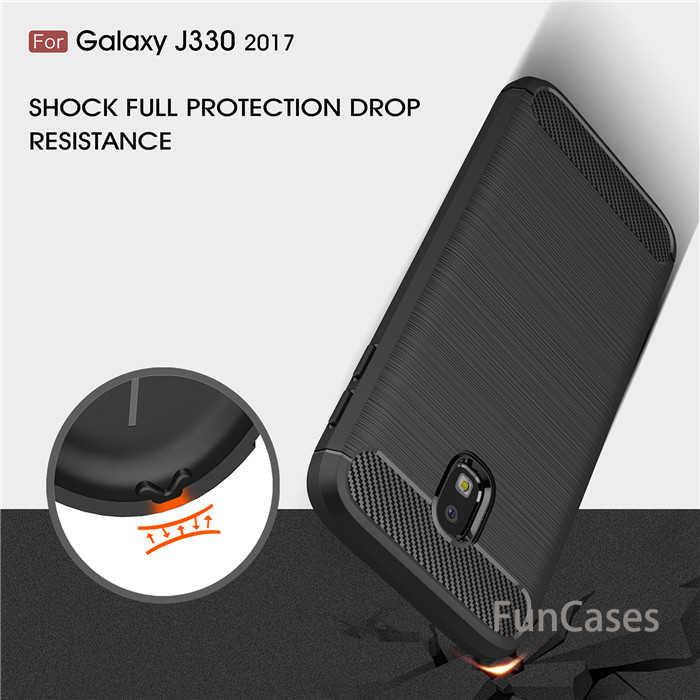 Para Samsung Galaxy J3 2017 SM-J330F caso híbrido resistente armadura caso cepillado funda de fibra de carbono para J3 pro 2017 J330 versión UE bolsa