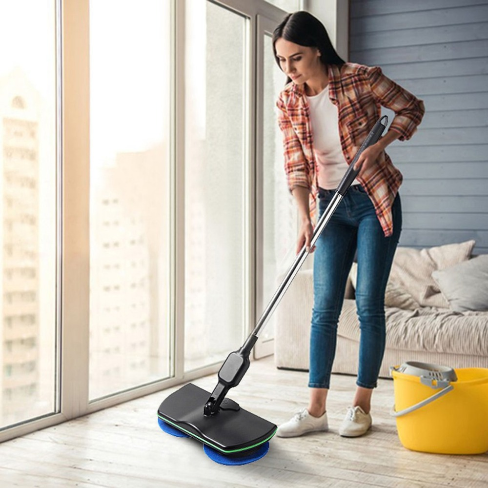 Household Rechargeable All Round Rotation Cordless Floor Cleaner Scrubber Polisher Electric Rotary Mop Microfiber Cleaning Mop