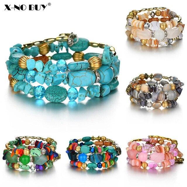 Neue Boho Bunte Türkisen Verkrustete Perlen Armband für Frauen Männer Metall Kupfer Harz Natürlichen Stein Perle Charme Ethnische Einstellbare Armband