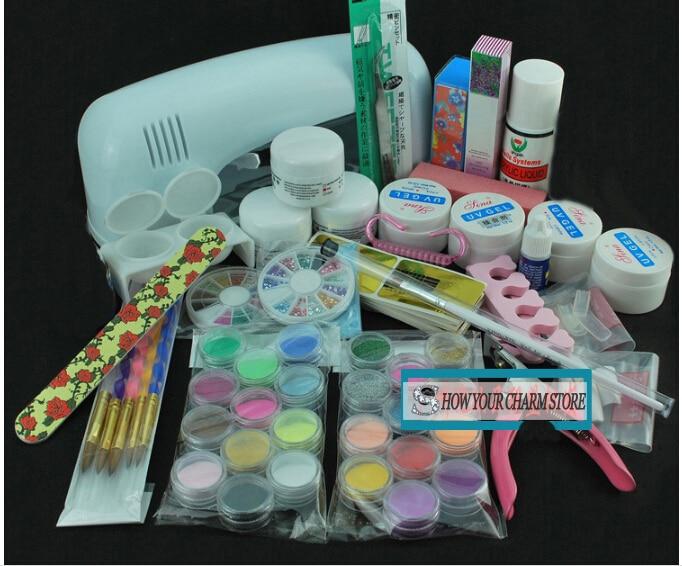 Lampe UV gel kit acrylique liquide poudre brosse dissolvant ongles conseils colle paillettes Clipper apprêt fichier nail Art conseils outil brosse outil ensemble