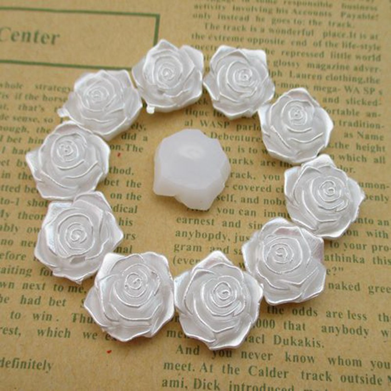 100pcs/lot 18mm*19mm Flower White Flat Back Imitation Pearls Beads For Jewelry Making Phone Decoration 003001005